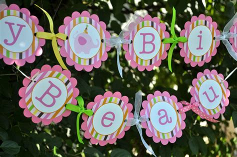 Personalized Birthday Decorations by Happy Birthday Banner Elephant And Giraffe Stripes