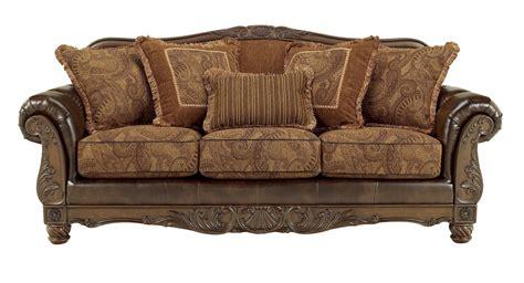 ashley fresco durablend traditional antique sofa living room set