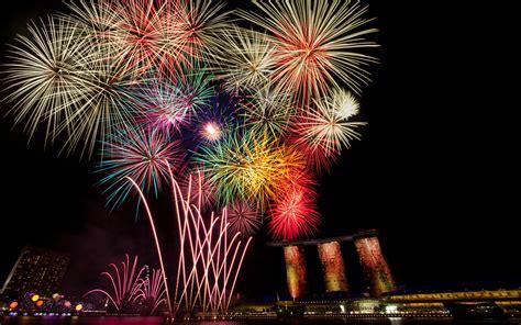 happy  year celebration fireworks bridges skyscrapers