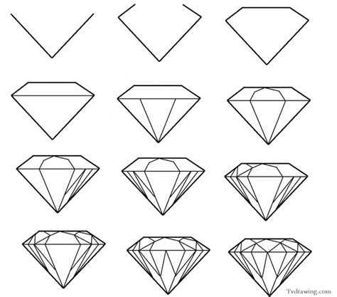easy pattern sketch how to draw a simple diamond gemstone pattern easy free