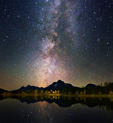 grand teton colors  night sky  reflection astroph