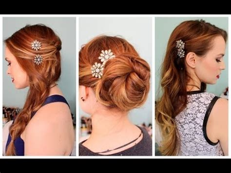 3 quick hairstyles for sparkly hair accessories! youtube
