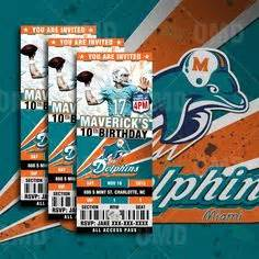 thank you card miami dolphins template printable birthday invitation card miami by