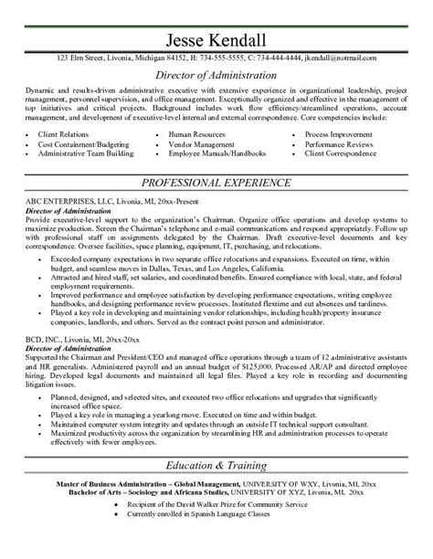 admin resume exle director of administration resume free sle