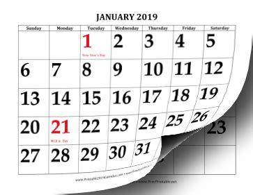 printable 2019 calendar with large print