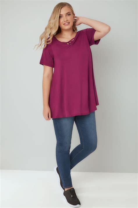 Tshirt Circle C3 t shirt jersey violet avec bretelles crois 233 es grandes