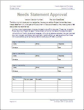 business needs statement template