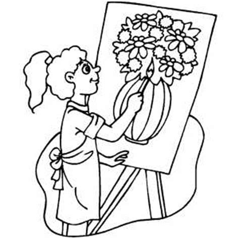 Girl Drawing Vase With Flowers Coloring Page Drawing Coloring Pages