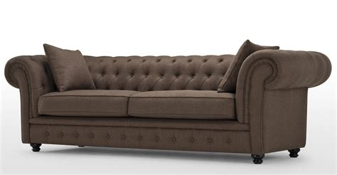 brown settee branagh 3 seater brown chesterfield sofa made com