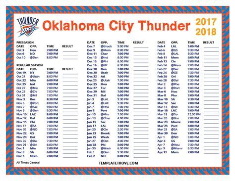 Okc Thunder Schedule Printable printable 2017 2018 oklahoma city thunder schedule