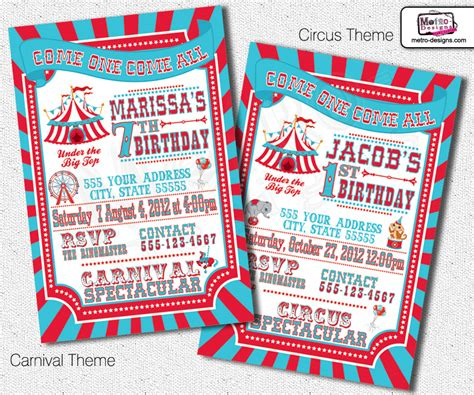 invites and events metro traditional carnival and circus invitations on storenvy
