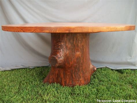made 60 quot oak tree stump pedestal dining table by