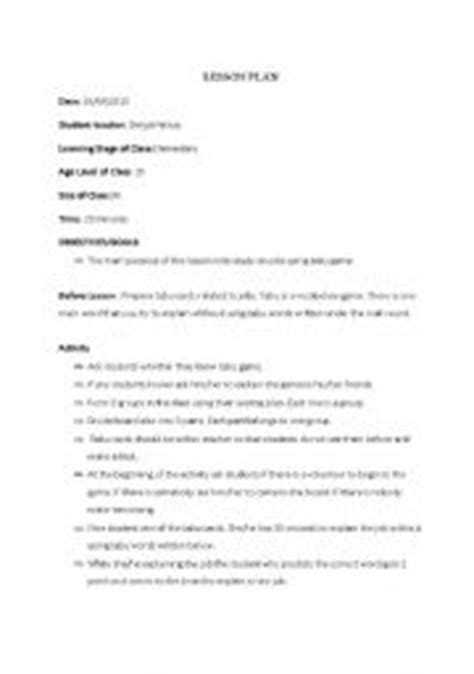 worksheets a lesson plan about