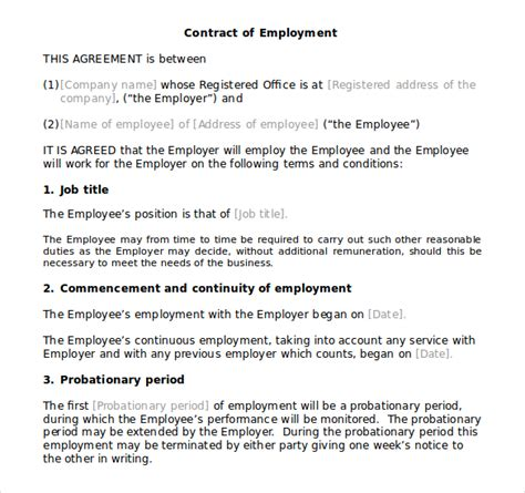 employment contract template free uk contract templates