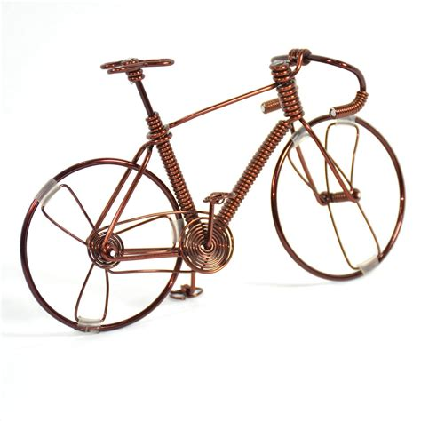 Handmade Bike - bicycle wire sculpture handmade bike copper color