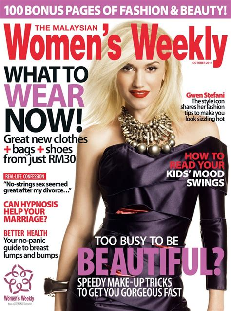 weekly magazines gwen on the cover of the october issue of the malaysian