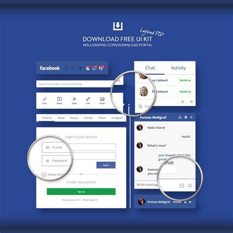 fb ui facebook redesign ui kit psd wellgraphic