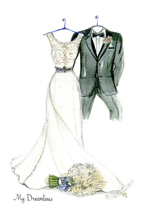 Wedding Gift Drawing by 15 Year Anniversary Gifts Dreamlines Wedding Dress Sketch