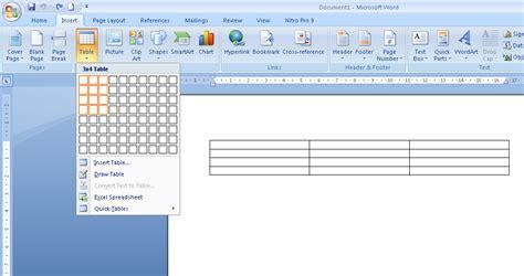 membuat tabel menu html microsoft word cara membuat tabel di ms office word 2007