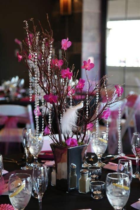 Wedding dress, veil, manzanita, damask & hot pink decor