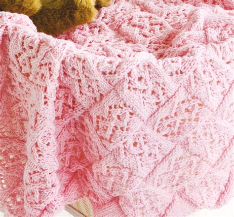 pattern knitted baby blanket lace stitch entrelac baby blanket dk knitting pattern