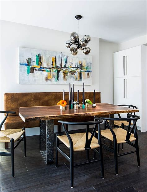 industrial modern dining room with live edge table and