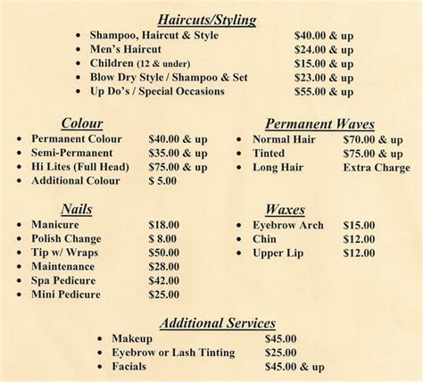 salon service menu template services