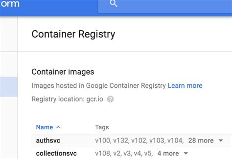google images tags gcloud how do i list images and tags in google container