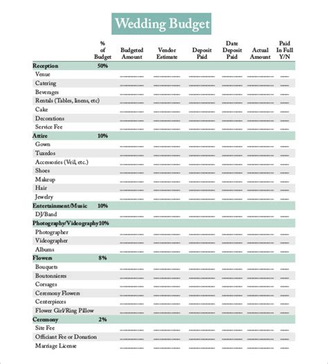 download excel wedding budget
