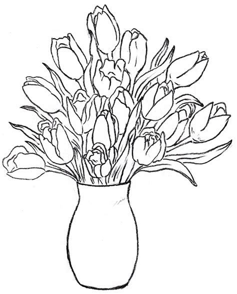 coloring pictures of flowers in a vase sketches of flowers in a vase flower vase drawing