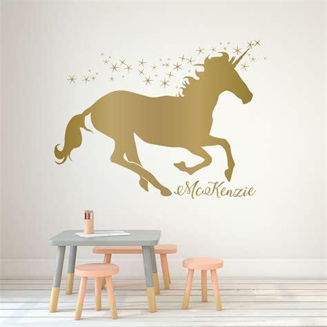 unicorn wall decor personalized vinyl decal  girls
