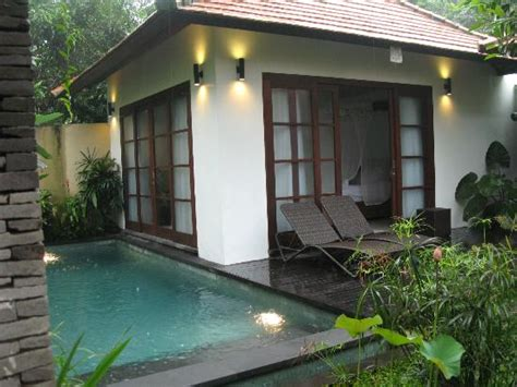 bali 2 bedroom villa private pool view of the one of the two bedrooms and private pool