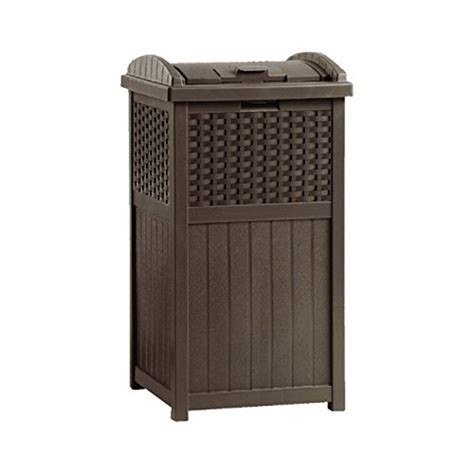 patio garbage can new suncast ghw1732 home outdoor patio resin wicker trash