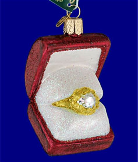 engagement ring in box glass ornament by old world christmas