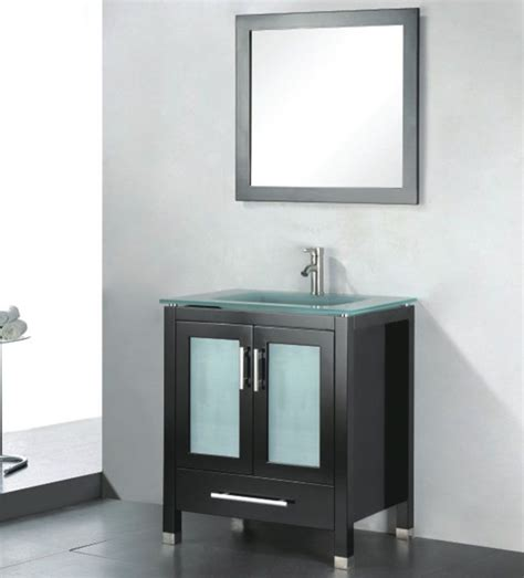 Modern Glass Bathroom Vanities by Amara 30 Inch Modern Glass Top Espresso Bathroom Vanity