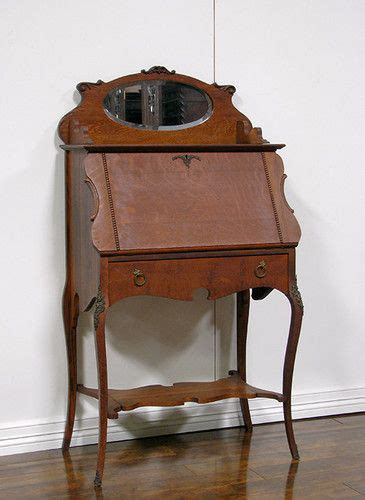 H1154 Antique American Oak Drop Front Desk Secretary Antique Drop Desk