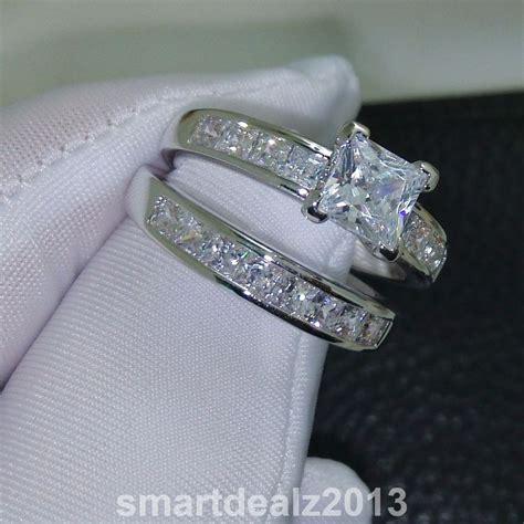 14k white gold sterling silver princess cut