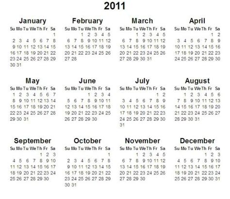 Calendar Of 2011 2011 Calendar What Are Some Scheduled Events The