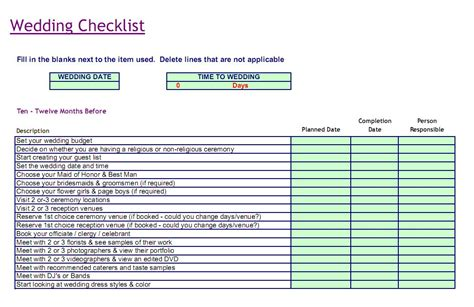 Free Wedding Checklist Template wedding checklist template new calendar template site