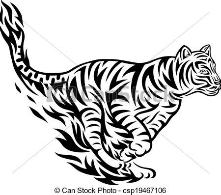 vector clipart of tiger jumping tribal tiger jumping art