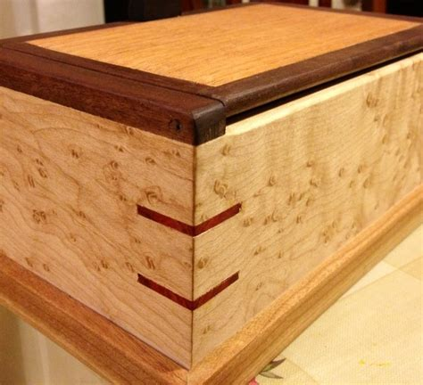 spline woodworking bird s eye maple box with walnut mahogany and blood wood
