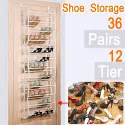 36 pair 12 tier shelf shoe rack organizer stand cupboard