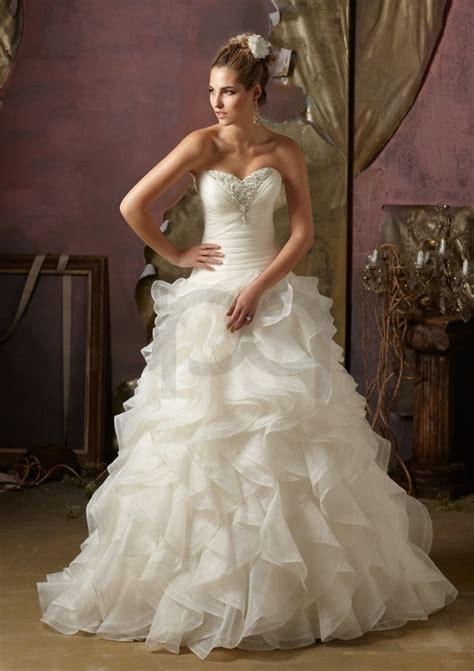 organza wedding dress with ruffles