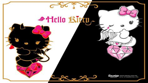 wallpaper hello kitty black and white black hello kitty wallpapers wallpaper cave