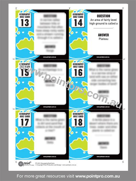 Quiz Cards Template by Geography Quiz Cards Point Production And Design