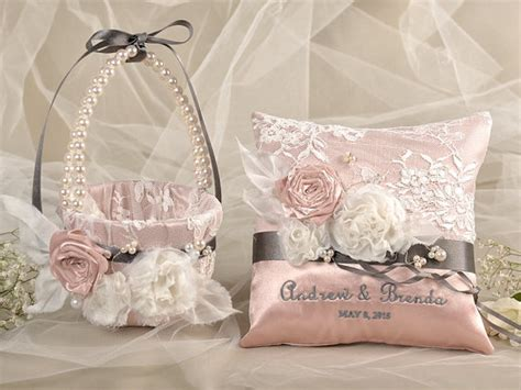 Ring Pillows And Flower Baskets by Flower Basket Ring Bearer Pillow Set Satin Nad Lace Embriodery Names