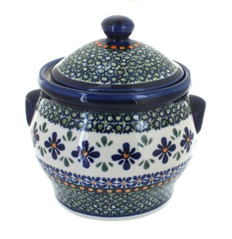 Large Mosaic Canister blue pottery mosaic flower medium canister