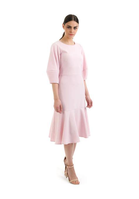 Closet Peplum Dress by Closet Lantern Sleeves Peplum Hem Dress Pink