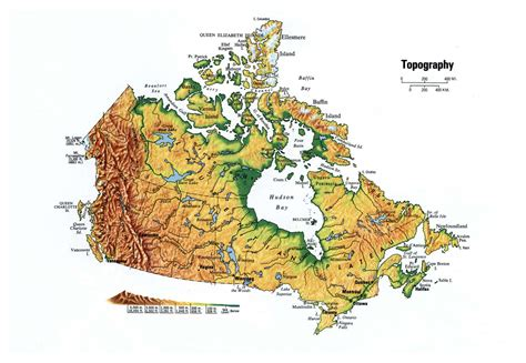 large map of large topographical map of canada canada large