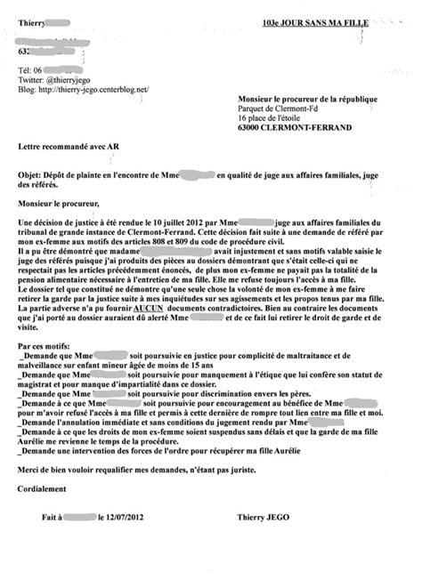 Exemple De Lettre Pour Un Juge Modele Lettre Pour Un Juge Des Affaires Familiales Document